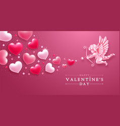 valentines day greeting card with cupid and hearts vector image