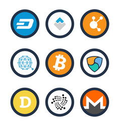 various cryptocurrency signs set inside circles vector image