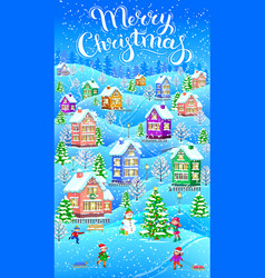 Vertical winter christmas card vector