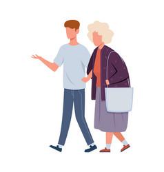 volunteers help old woman young volunteer man vector image