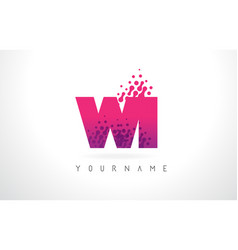 wi w i letter logo with pink purple color and vector image