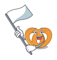 with flag pretzel mascot cartoon style vector image