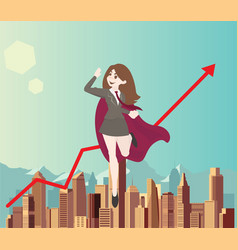 Woman superhero flies above the city with arrow vector