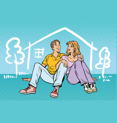 Young couple boy and girl dreams about house vector