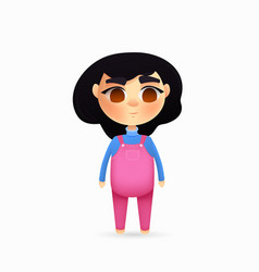 young girl character cartoon style vector image