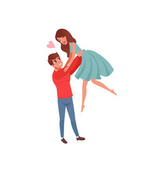 young man holding his girlfriend by waist raising vector image