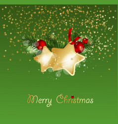 christmas background with fir branches and gold vector image