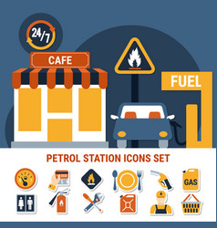 fuel pump icon set vector image