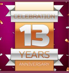 Thirteen years anniversary celebration design vector