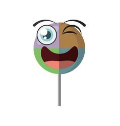 cartoon lollipop sweet party wink vector image vector image