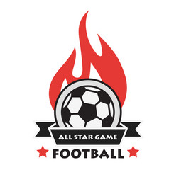 football all star game ribbon fire ball background vector image