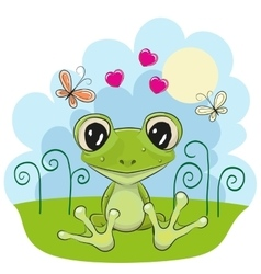 Frog with flowers vector image vector image