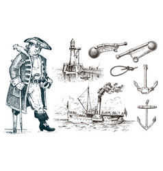 pirate and lighthouse and sea captain marine vector image