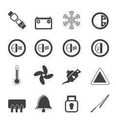 Silhouette Car Dashboard icons vector image