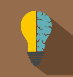 brain lamp icon flat style vector image vector image