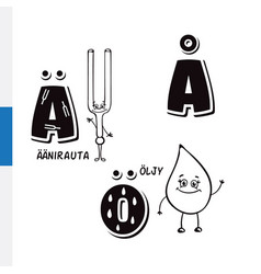 finnish alphabet tuning fork butter vector image vector image
