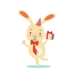 Little Girly Cute White Pet Bunny With Birthday vector image vector image