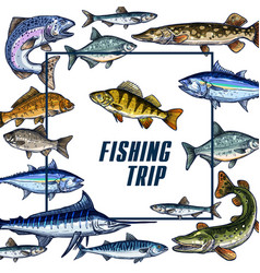 Poster template for fishing trip sketch vector