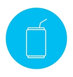 Soda can with drinking straw line icon vector image
