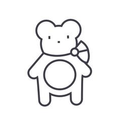 teddy bear line icon sign on vector image