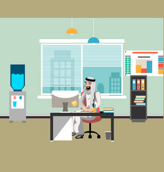arabic businessman in office vector image vector image