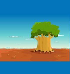 Baobab inside african desert vector