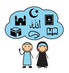 Cartoon muslims and muslim symbols vector
