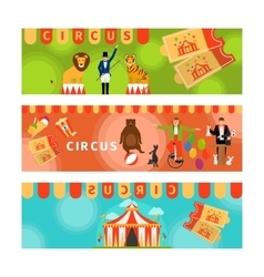 Circus banners with fun flat elements vector image
