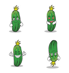 collection set of cucumber character cartoon vector image vector image