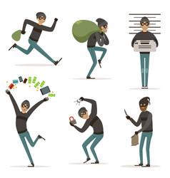 different actions scenes with cartoon bandit vector image