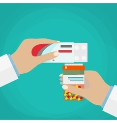 Doctor hand holding box of pills and jar capsules vector image