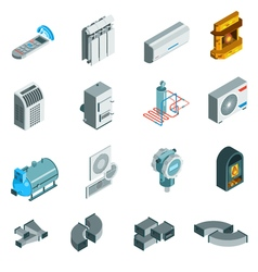 Heating cooling system isometric icons set vector