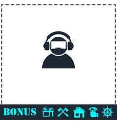 Meloman icon flat vector image