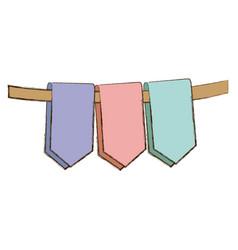 set pastel color decorative pennants celebration vector image