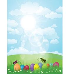 sunny landscape vector image vector image