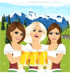 Three oktoberfest girls holding beer tankards vector image vector image