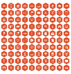 100 network icons hexagon orange vector image