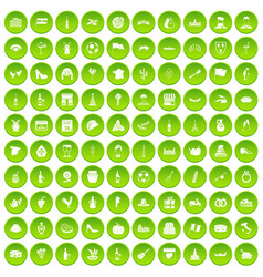100 windmills icons set green circle vector