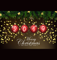 2019 new year card with red christmas balls vector image