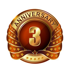 3 years anniversary golden label with ribbon vector
