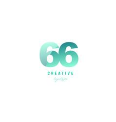 66 green pastel gradient number numeral digit vector