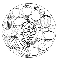 A set of hand-drawn icons fruits inscribed in a vector