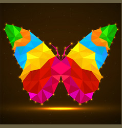Abstract butterfly of colorful triangles vector
