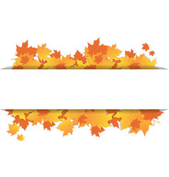 Autumn leaves frame on banner with copy space vector