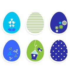 Beautiful cute easter eggs isolated on white vector