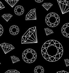 Black and White Seamless Pattern with Diamonds vector image