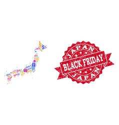 black friday collage of mosaic map of japan and vector image