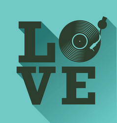 black vinyl record disc flat love concept vector image