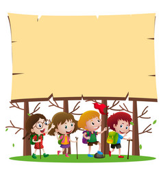Border template with kids hiking in woods vector