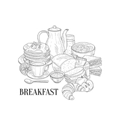 Breakfast Traditional Food And Drink Hand Drawn vector